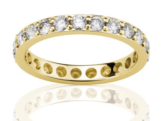 Aliance or jaune et diamants