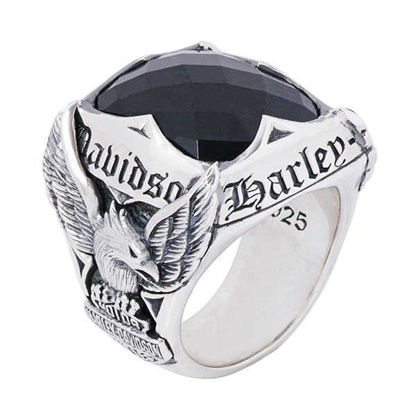 bagueharley-davidson pierre noir et aigle royal
