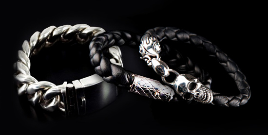 bracelets en cuir et argent massif